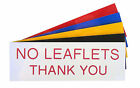 Engraved Plaque NO LEAFLETS THANK YOU Sign 150mm x 50mm