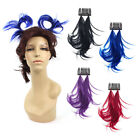 Anime Hair Piece Cosplay Twin Tails Bright Color Black Blue Red Purple Extension