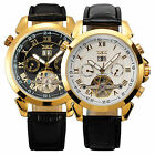 Classic Mens Automatic Mechanical Wrist Watch Army Stainless Steel Black Leather