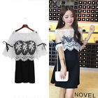 2 Pieces Womens Pure Color Strap Dress Off Shoulder Lace Embroidery Blouse Tops