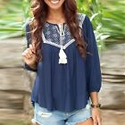 New Women Fashion Long Sleeve Shirt Ladies Casual Lace Blouse Loose Tops T-Shirt
