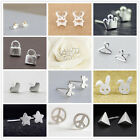 Women Simple 925 Silver Earring Retro Punk Street Style Ear Stud Jewelry Gift