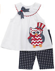 Rare Editions Girls Americana 4th of July Seersucker Owl Outfit 12M 18M 24M