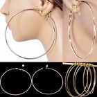 "#E121 NON-PIERCED CLIP ON 3"" or 4"" HUGE CIRCLE HOOP EARRINGS ROSE GOLD PLATED"