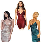 Women's V-Neck Backless Sequins Bodycon Sleeveless Evening Club Party Mini Dress