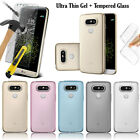 Ultra Thin Clear Gel Case Cover & Tempered Glass Screen Protector for LG Phones