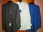 NWT NEW mens charcoal gray white blue CROFT & BARROW cotton no iron dress shirt