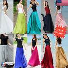 Women Double Layer Chiffon Pleated Retro Long Maxi Dress Elastic Waist Skirt US