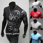 US SHIP! Fashion Men T-shirt  5 colors Spandex Short sleeves Top Athletic Casual