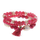 Charm Women Bohemian Multilayer Pearl Beaded Tassel Pendant Chain Bracelet Sets
