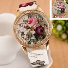 Ladies Women's Retro Flower Leather Stainless Steel Analog Quartz Wrist Watch_US