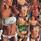 2017 UK Summer Womens Sequins Beach Swimwear Swimsuit bikini 2Pcs top+bottom