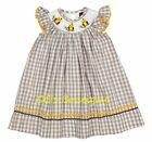 Girls LIL CACTUS boutique dress 2T 3T 4T NEW owls smocked bishop fall brown