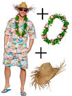 Mens Hawaiian Beach Party Fancy Dress Costume Pink Floral Outfit + Lei + Hat