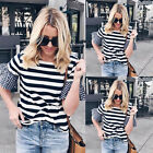 New Womens T shirt Casual Party Short Sleeve Striped Loose Summer Tops T Shirt