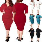Plus Size Summer Women Short Sleeve Formal Party Cocktail Casual Mini Dress New