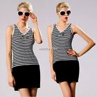 Stylish Lady Women's Casual Fashion Sleeveless V-neck Stripe Patchwork N4U801