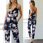 Women Backless Jumpsuit Sleeveless V-Neck Floral Printed Party Playsuit Rompers
