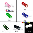 """15x Mixed Colorful 3/8"""" Side Release Buckles Paracord Bracelet Dog Phone Strap"""