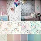 ARTHOUSE RAINBOW & FAIRYTALE UNICORN + GLITTER WALLPAPER WHITE PINK LILAC BLUE