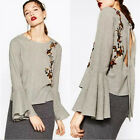 New Women Ethnic Floral Embroidered Ruffle Blouse Shirt Bat Long Sleeve Top