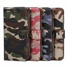 Card Slot Stand Camouflage Shockproof Leather Like Cover Case For iPhone Samsung