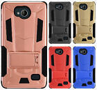 For ZTE Tempo N9131 HYBRID KICK STAND Rubber Case Phone Cover Accessory