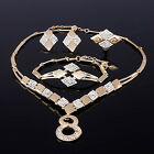 GOLD PLATED 8 SHAPE NECKLACE RING EARRING BRACELET WEDDING JEWELRY SET UNIQUE