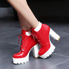 Motorcycle Women Round Toe Lace Up Platform Block Heel High Top Ankle Boot Shoes