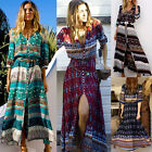 Vintage Women's Boho Floral V Neck Long Maxi Dress Summer Beach Party Sundress