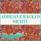 Garnet & Gold Paisley Pattern #1 Adhesive Vinyl or HTV for Crafts or Shirts