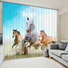 3D Curtain 2 Panels Set Readymade Eyelet Ring Top--Running Horses Scenic Style