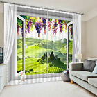 3D Curtain 2 Panels Set Readymade Eyelet Ring Top--Window Outdoor Scenic Style