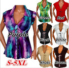 Fashion Ladies Chiffon Short-Sleeve V-neck Lace Bandage T-shirt Tops Size S-5XL