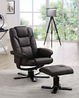 Reclining Chair with Footstool Black Brown Recliner Armchair Home Office