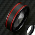 8mm Black Tungsten Men's Double Red Racing Stripes Wedding Band - Engravable