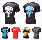 Men Workout Compression T-Shirt Superman Print Basylayer Cycling Jersey Tee Tops