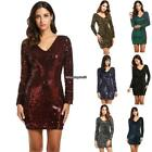 Women's V-Neck Long Sleeve Sequined Cocktail Bodycon club party Mini Dress EH7E