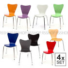 4 Set Retro Lounge Butterfly Wood Dining Office Chairs with Steel Legs