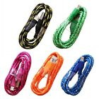 3/2M Nylon Braided Micro USB Data Sync Charger Charging Cable Cord For Android