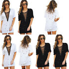 Loose Tops  Blouse Dress Women Cold Loose Holes Lace Up V Neck T-Shirts Casual