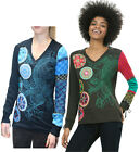 Desigual Patch Design Knit Sleeves V Japan Top XS-XXL UK8-18 RRP?64 Blue Green