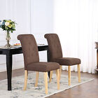 PREMIUM LINEN FABRIC DINING LIVING ROOM CHAIRS SCROLL HIGH BACK BROWN