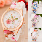 Fashion Women's Watch Silicone Printed Flower Causal Quartz Analog Wrist Watches image