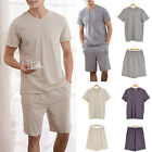 Newly Men Pajamas Set Pure Color Nightwear Short Sleeved Tops Shorts Home Wear