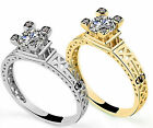 Tower Rhinestones Retro Silver Plated Gold Engagement Royal romantic Rings Lover