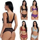 2PCS Women's Lingerie Set See-through Lace Floral Bra Top with Bottoms Babydoll