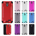 For ZTE Prestige 2 Combat Brushed Metal HYBRID Rubber Phone Case + Screen Guard