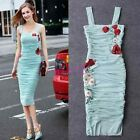 Summer Womens Occident Condole Belt Party Embroidery Knee Cocktail Sexy Dress