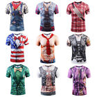 Men Funny 3D Print Cowboy T-Shirts Tops Summer Short Sleeve Casual Club Tee Tops
